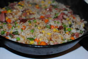 Fried rice with turkey bacon.